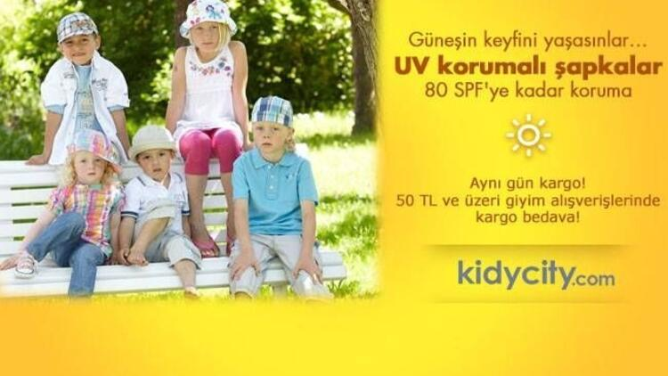 UV korumalı mayo ve şapkalar kidycity.com'da