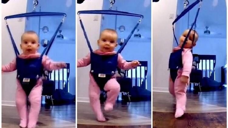 Minik bebekten gülümseten dans şov!