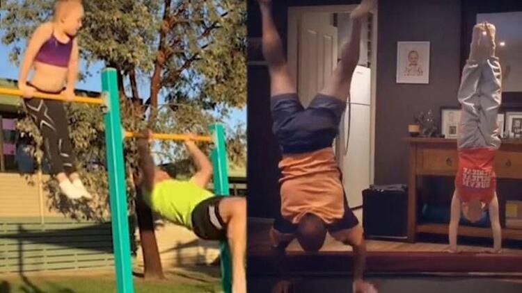 Kızıyla jimnastik yapmaya çalışan komik baba
