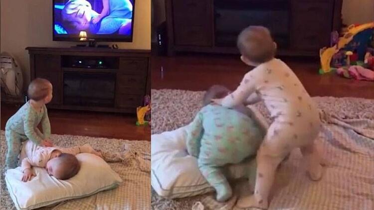 Animasyon izleyip canlandırma yapan bebekler!