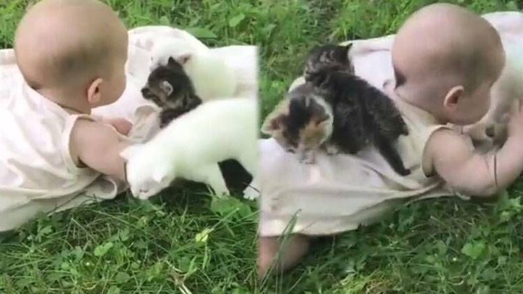 Minik bebeğin yavru kedilerle imtihanı