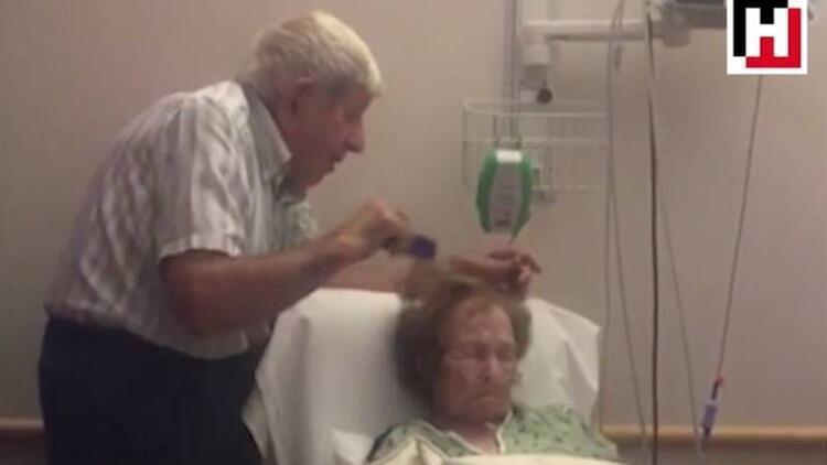 Hasta eşinin saçlarını tarayan elleri öpülesi amca!