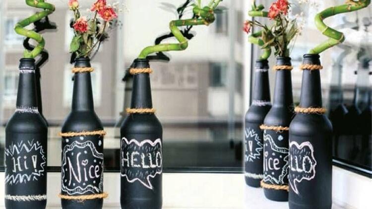 Kendin yap:Kara tahta boyası ile şişe ve tepsi boyama