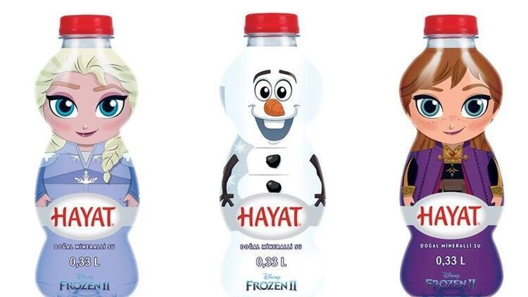 Karlar Ülkesi maskotları Hayat Su şişelerinde!