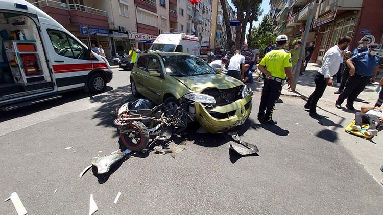 Otomobille motosiklet çarpıştı: 3 kişi yaralandı