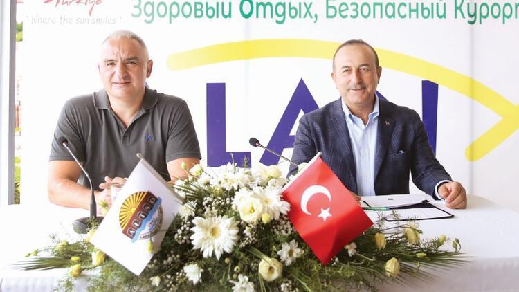 Çavuşoğlu ve Ersoy Antalya'dan seslendi! Dünyaya 'turizmde güvenliyiz' mesajı