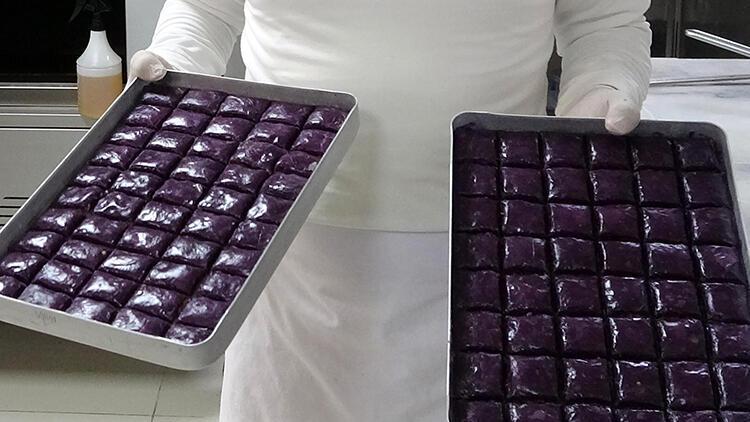 Erzurumlu usta, diyabet hastaları için 'mor baklava' üretti