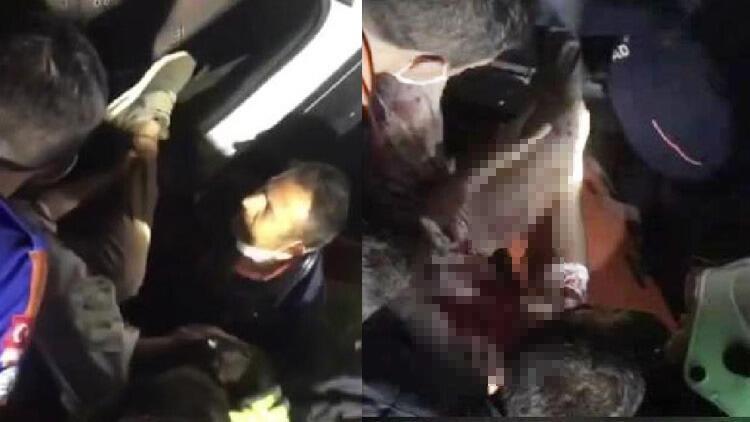 Minibüs şarampole yuvarlandı; sürücü, eşi ve 2 çocuğu yaralı