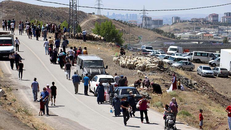 Ankara'da kurban kesiminde bildik görüntüler