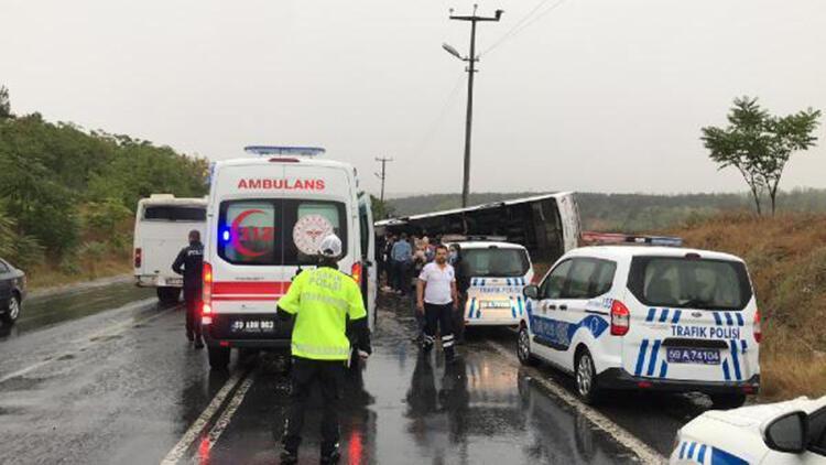 Tekirdağ'da işçi servisi devrildi: 10 yaralı