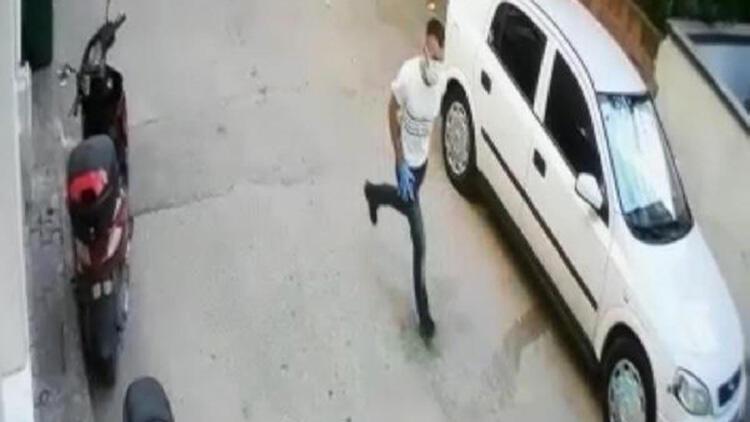 Hırsızlık şüphelisinin apartmana giriş ve çıkış anları