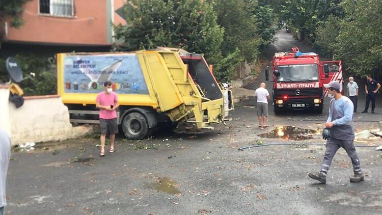 Son dakika haberler: Sarıyer'de çöp kamyonu evin bahçesine girdi
