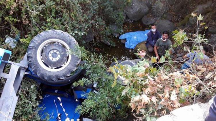 Dere yatağına uçan traktörün sürücüsü öldü