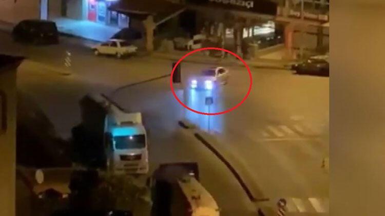 Cadde ortasında drift yapan sürücüye büyük şok!