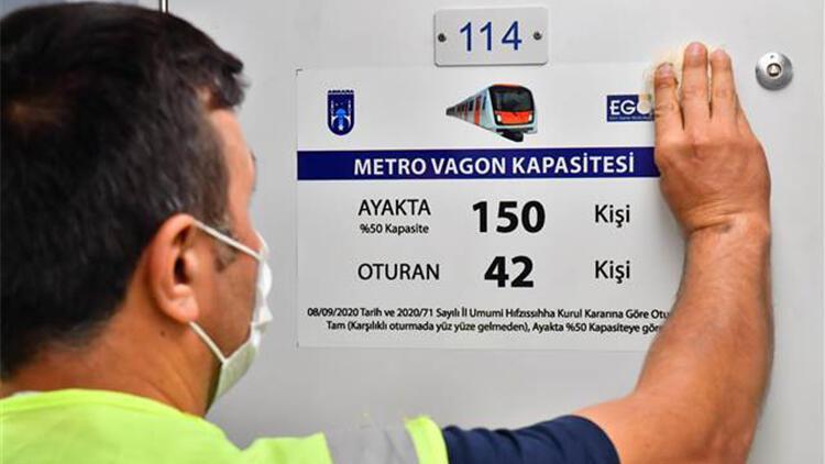 Başkent'te toplu taşıma araçlarına yolcu kapasite etiketleri yerleştiriliyor