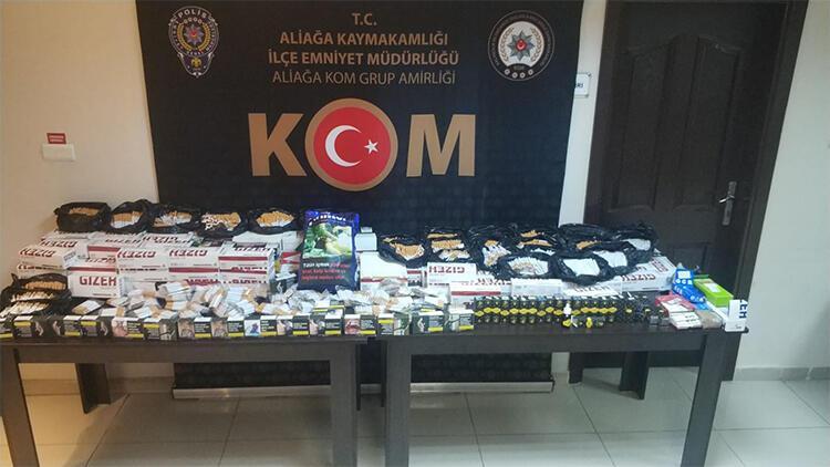İzmir'de kaçak içki ve tütün operasyonu