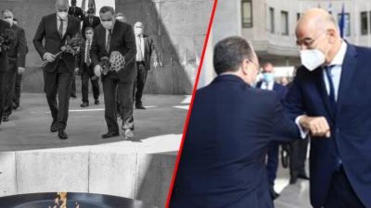 Son dakika haberi: Uçaktan iner inmez oraya gitti...  Yunan bakandan provokatif ziyaret!