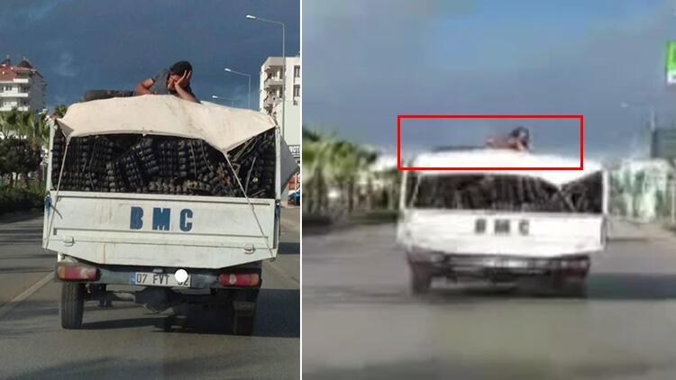 Antalya'da kamyonet üzerinde 'pes' dedirten yolculuk