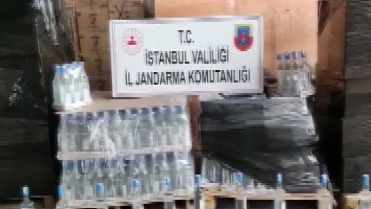 İstanbul'da jandarmadan 2,5 tonluk sahte içki baskını
