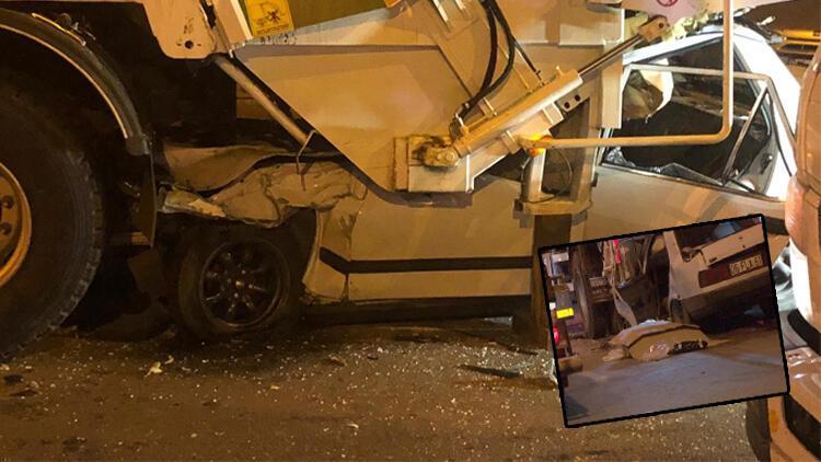 Son dakika... Ankara'da otomobil, çöp kamyonuna ok gibi saplandı