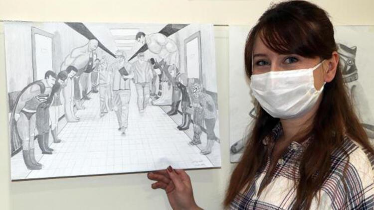 Koronayı yenen hemşireden kara kalem 'sağlık kahramanları' çizimi
