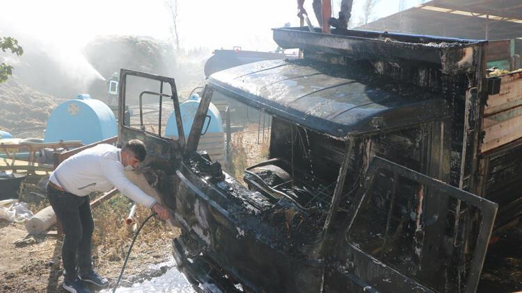 Niğdede büyükbaş hayvan çiftliğinde yangın çıktı