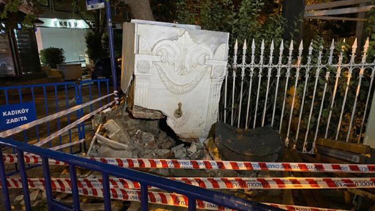 Bağdat Caddesi'nde tarihi çeşme kazada zarar gördü
