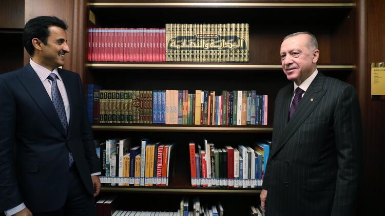 Cumhurbaşkanı Erdoğan, Katar Emiri El-Sani ile Millet Kütüphanesi'ni ziyaret etti