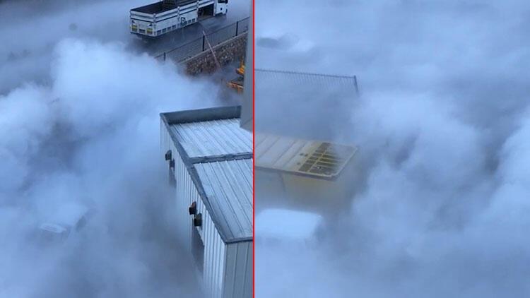 Son dakika haberler: Hastanenin boşaltılan sıvı oksijen tankından çıkan duman korkuttu
