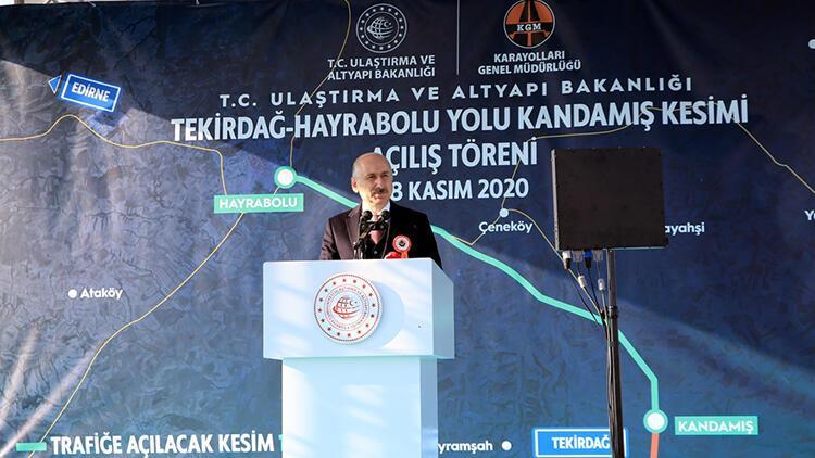 Ulaştırma ve Altyapı Bakanı Karaismailoğlu, Tekirdağ-Hayrabolu Yolu Kandamış Kesimi Açılış Töreni'ne katıldı