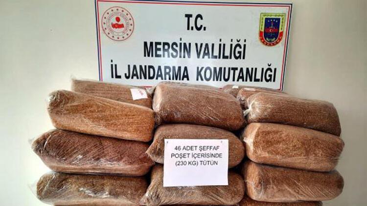Mersin'de, 230 kilo kaçak tütün ele geçirildi