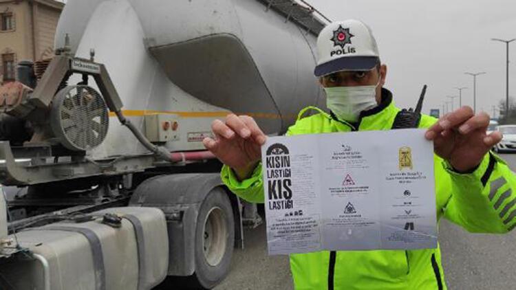 Düzce'de kış lastiği denetimi; 2 kamyon sürücüsüne ceza