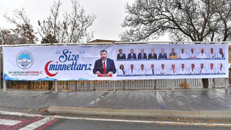 Kayseri'de sağlık çalışanlarına 'size minnettarız' afişi