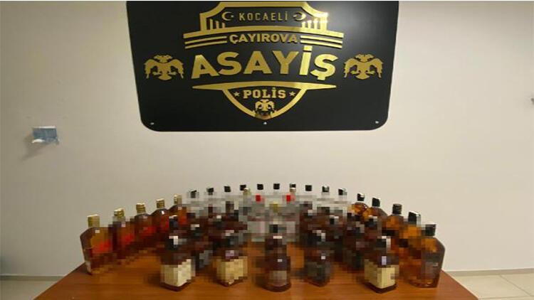 45 şişe sahte içkiyle yakalandılar
