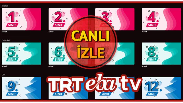 TRT EBA TV ilkokul, ortaokul, lise canlı yayın izle! 12 Ocak TRT EBA TV yayın akışı