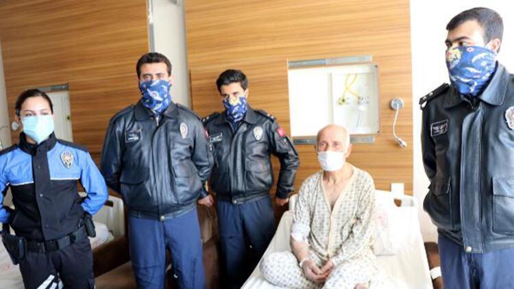 Polisten, helikopterle hastaneye yetiştirdikleri hastaya ziyaret
