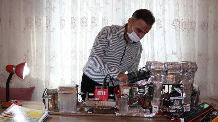 Teknolojiye merak saldı, atölyesinde motor geliştirdi