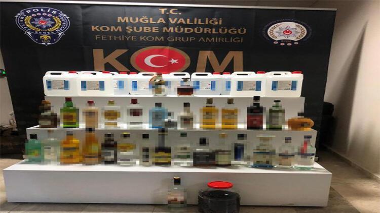 Fethiye'de sahte içki üreten 2 şüpheli gözaltına alındı