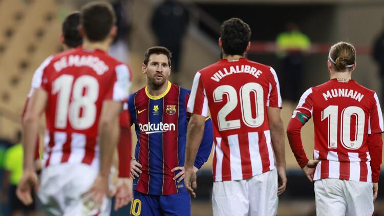İspanya Süper Kupası'nı Athletic Bilbao kazandı! Messi ilk kez kırmızı kart gördü