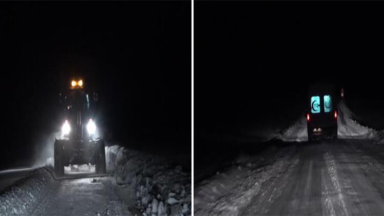 Karla mücadele ekipleri kapalı köy yollarını açtı, hastalar hastaneye ulaştırıldı