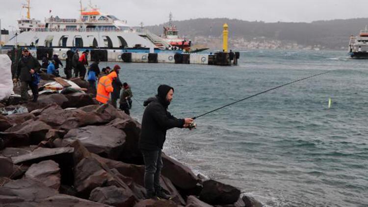 Olta balıkçıları, lodosu fırsata çevirdi, sahile dolan palamutları avladı