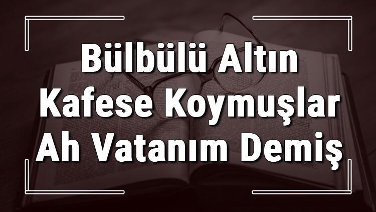 Bülbülü Altın Kafese Koymuşlar Ah Vatanım Demiş atasözünün anlamı ve örnek cümle içinde kullanımı (TDK)