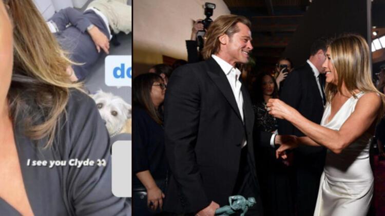 Jennifer Aniston ve Brad Pitt'in hayranlarının soluğu kesildi: O arkadaki adam Brad mi?