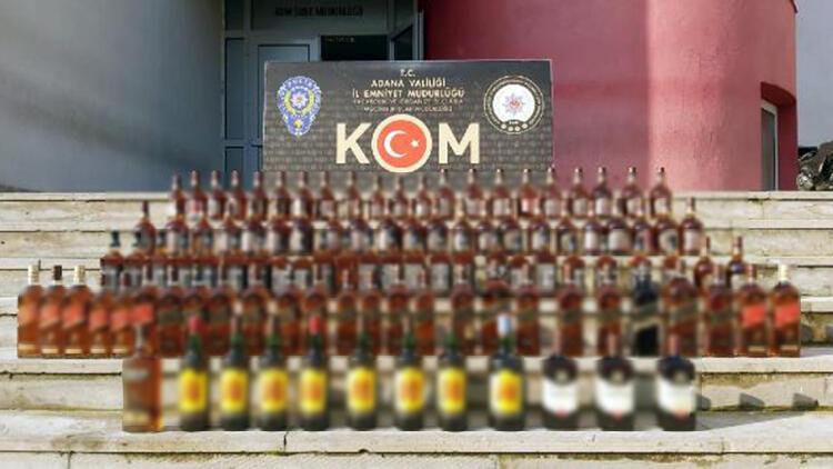 Adana'da bin 630 litre sahte, 111 şişe kaçak içki ele geçirildi