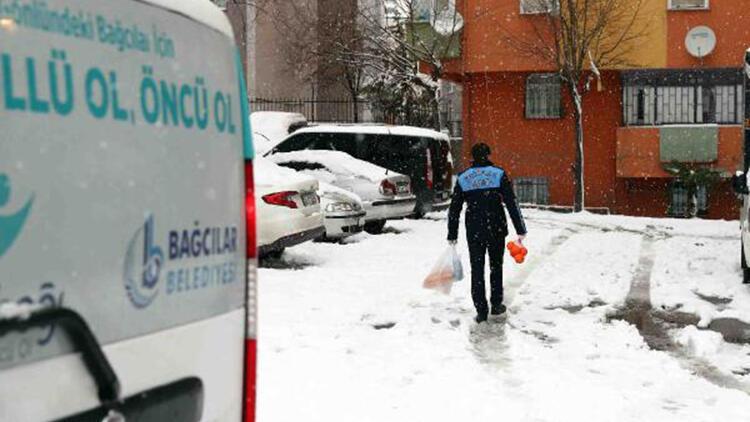 Kış şartlarında ihtiyaç sahiplerine gıda yardımı
