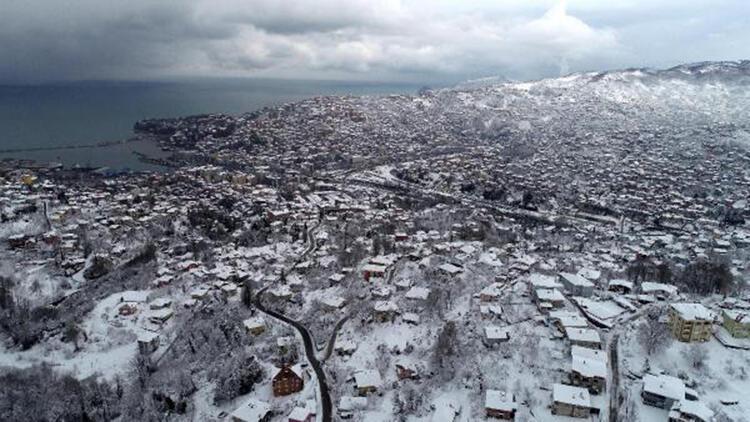 Zonguldak'ta kar güzelliği havadan görüntülendi