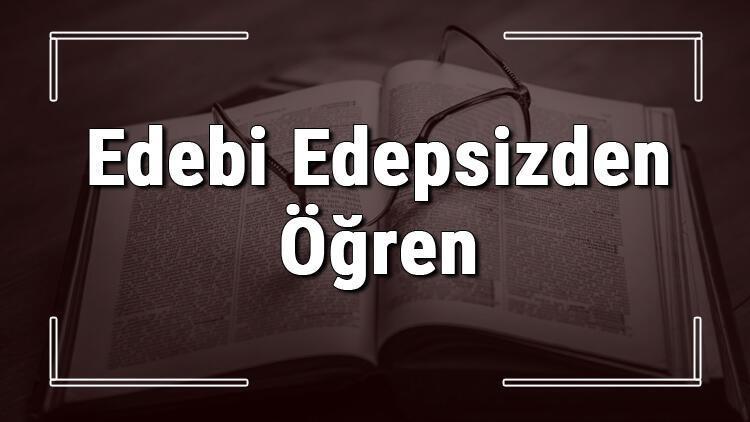 Edebi Edepsizden Öğren atasözünün anlamı ve örnek cümle içinde kullanımı (TDK)