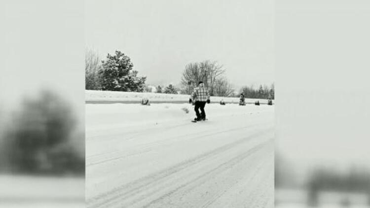 Karayolunda snowboard heyecanı