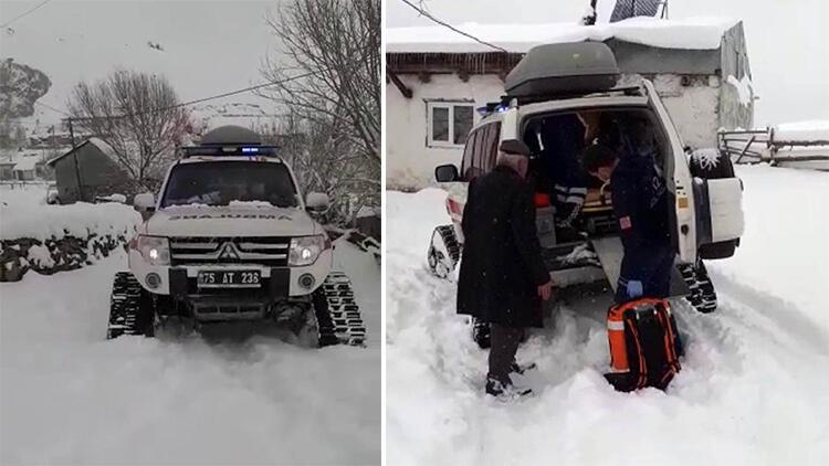 Yolu kardan kapanan köydeki diyaliz hastasına paletli ambulansla ulaşıldı