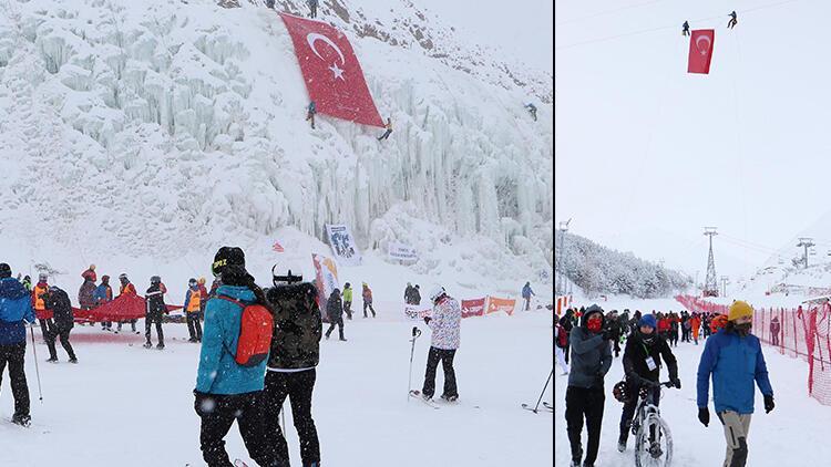 Gara Şehitleri anısına Palandöken'in zirvesine Türk bayrağı astılar